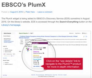 PlumX Plum Print Altmetrics Research EDS