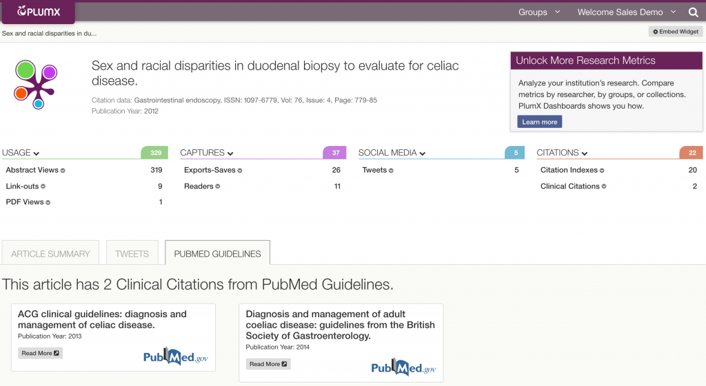 PlumX Metrics including Clinical Citations from PubMed