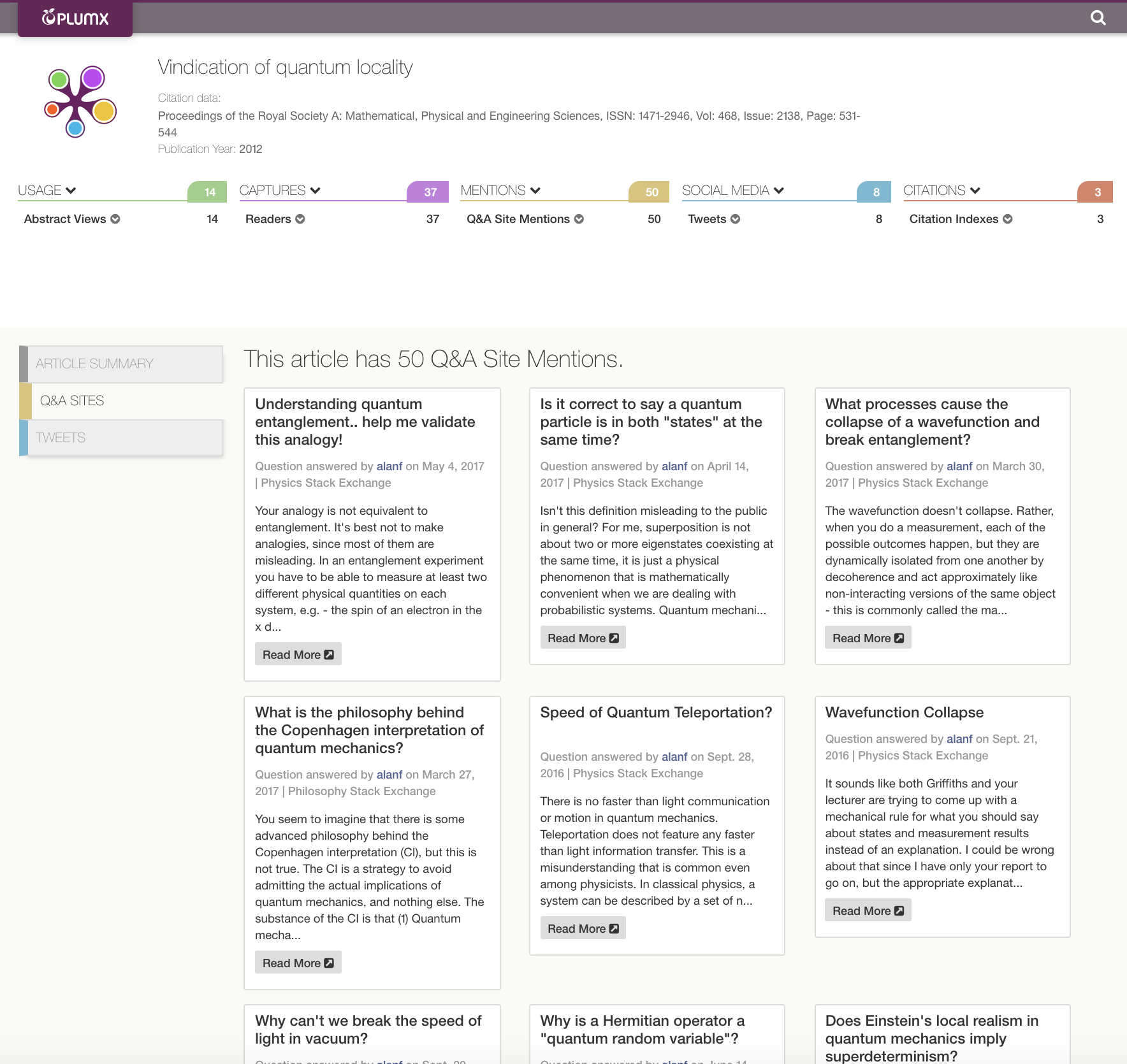 All Stack Exchange Q&A Sites Now Covered in PlumX Metrics - Plum